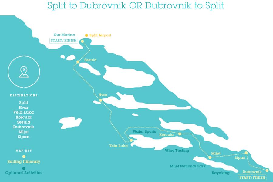 MedSailors route map for Croatia sail boat tours in the Mediterranean from Split to Dubrovnik and back.