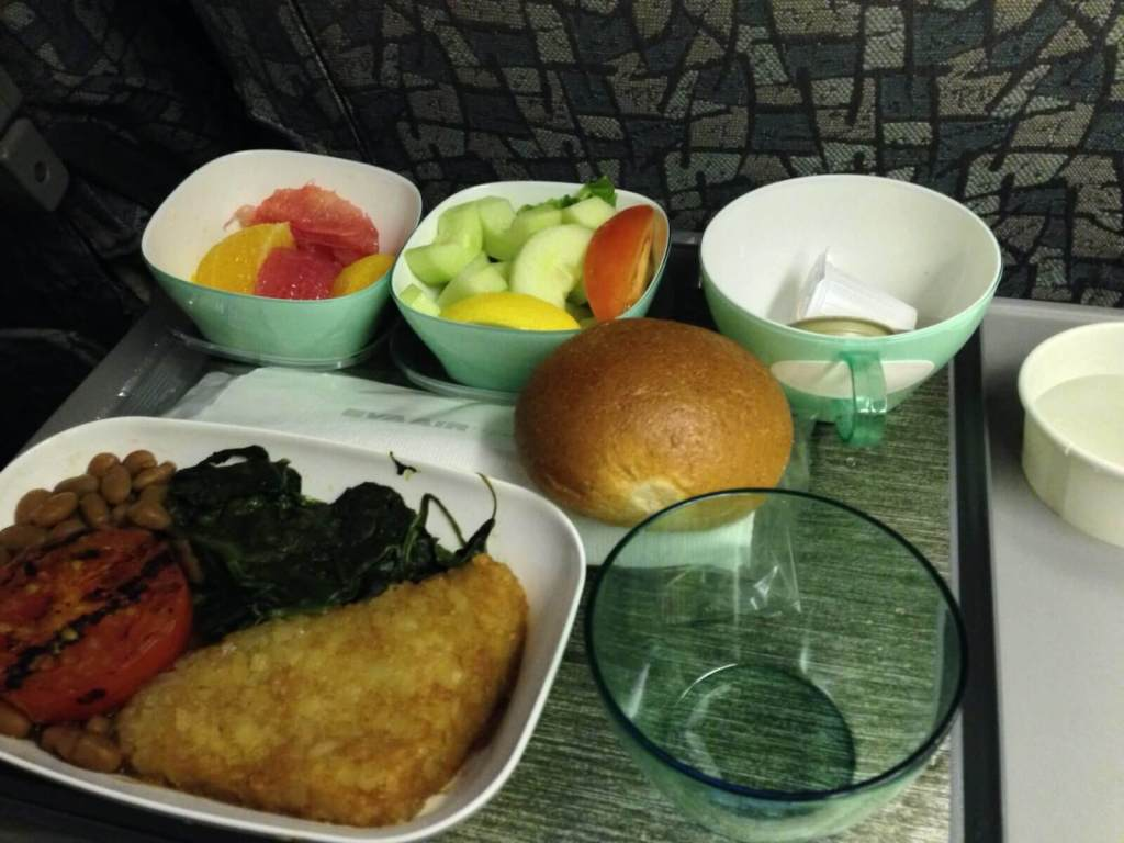 Airline Food why you should always choose vegetarian when flying image of airline vegetarian food.