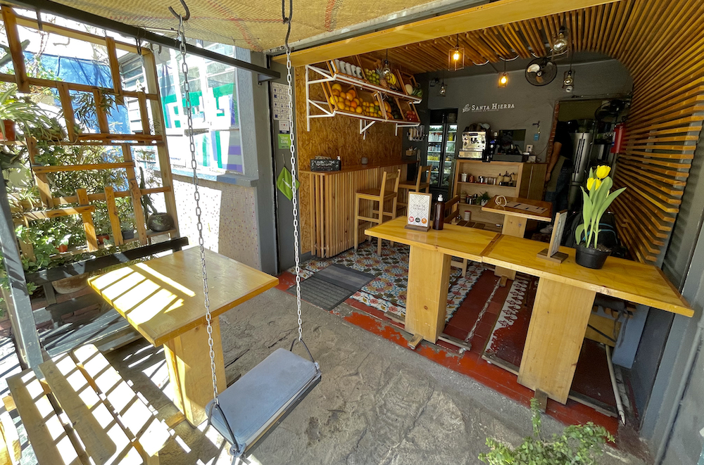 Santa Hierba Rayon cafe in Oaxaca City Mexico.