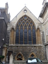 The decorated Gothic exterior of the church of St Etheldreda