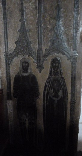 Brass memorial to John Le Strange (d. 1479) and his wife Jacquetta