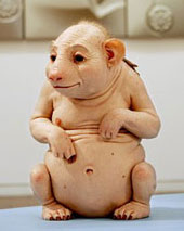 This cow person was made by visionary Patricia Piccinini.