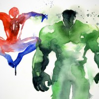 Superheroes in Watercolor