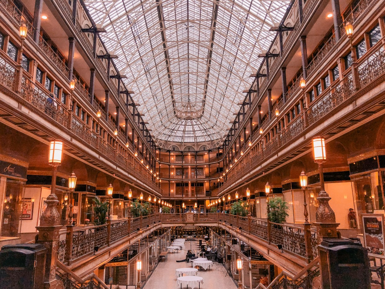 The Arcade Cleveland. Hyatt Regency Cleveland. Historic buildings in Ohio. Oldest buildings in USA
