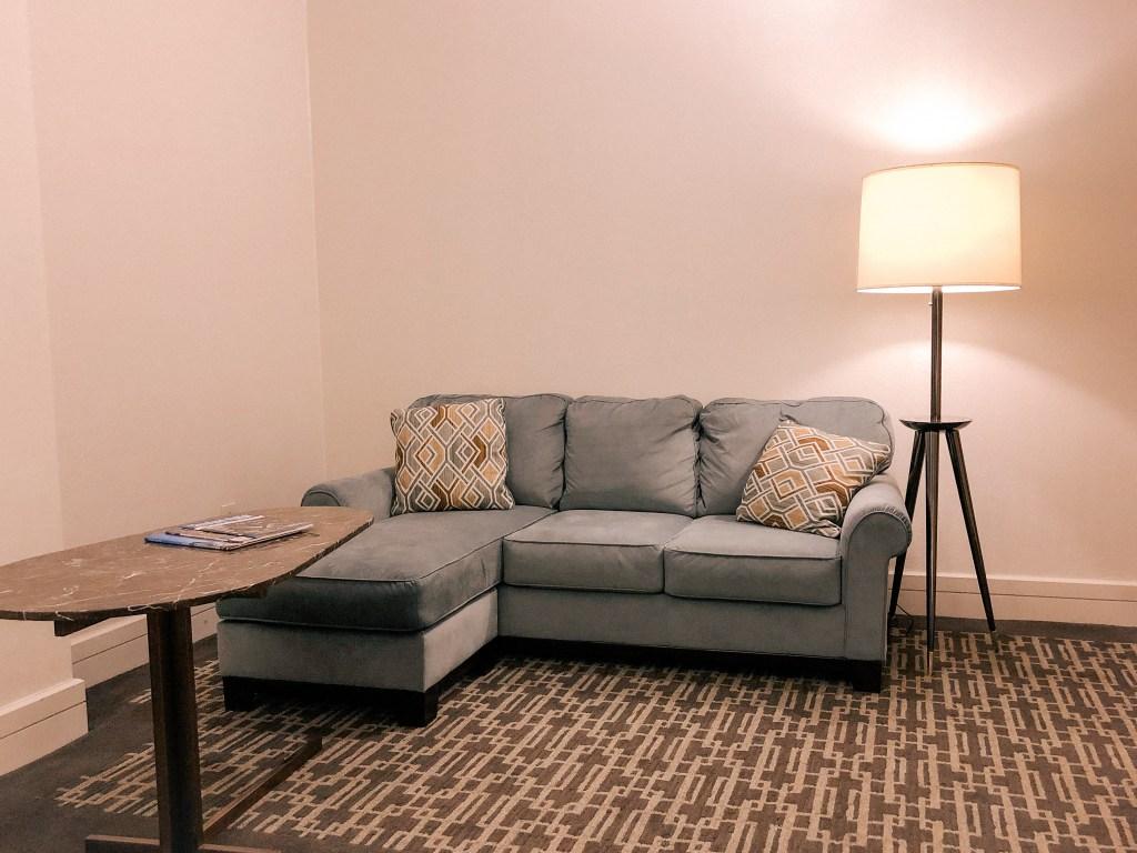 couch at hyatt hotel in cleveland arcade