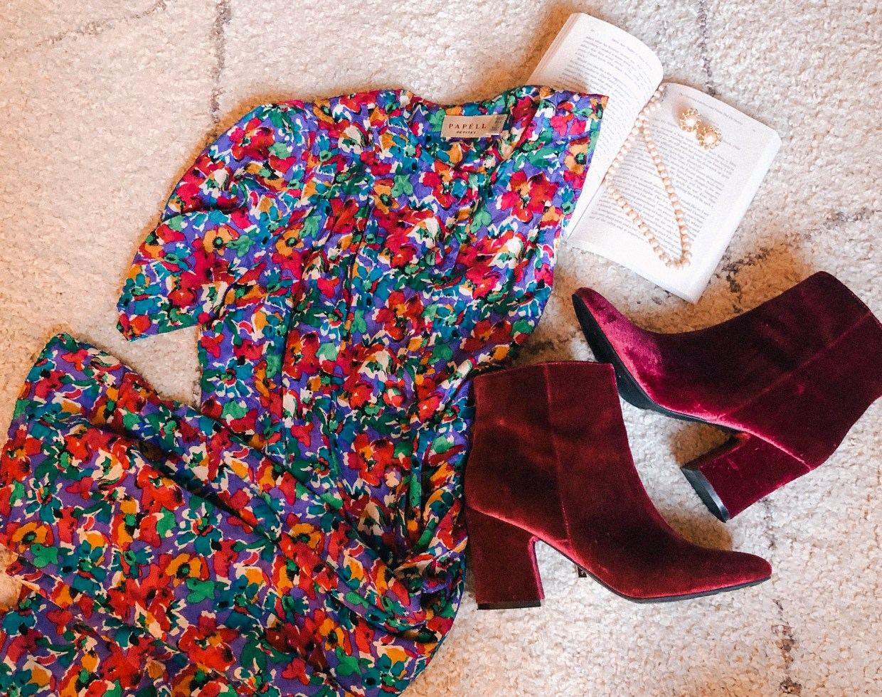 Thrifting Finds! Vintage Floral Dress and velvet booties!
