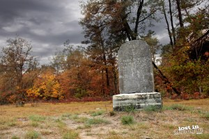 One of the few remaining tombstones