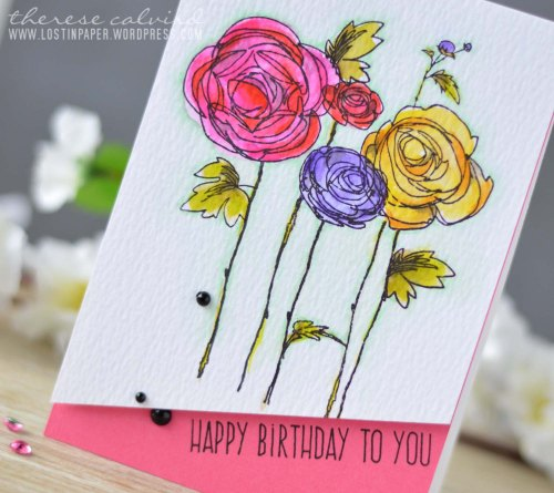 Lostinpaper - It's all about the CASE Marion - Stampendous - Ranunculus / Altenew - Birthday Greetings - Flower card (video)