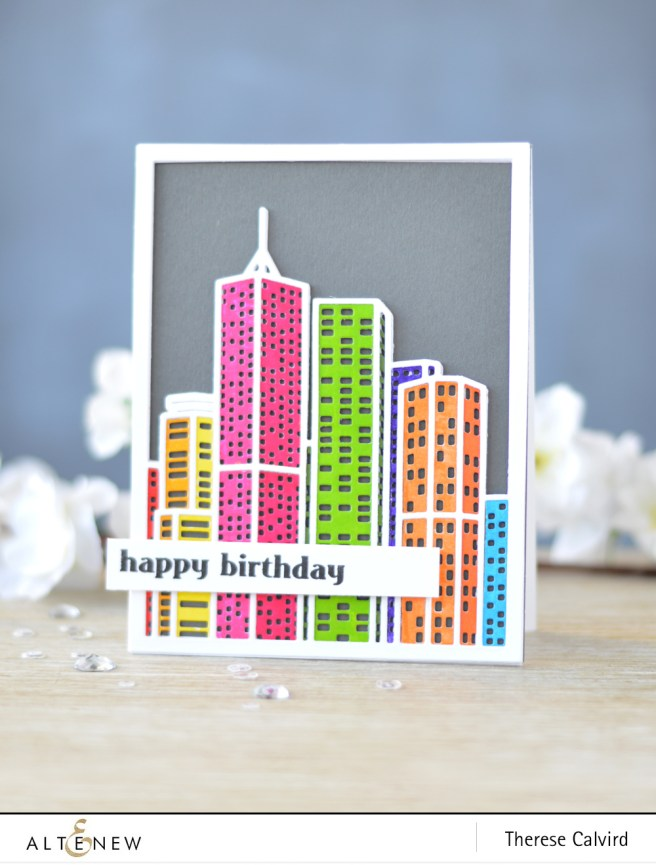 Altenew - Layered Cityscape Cover Die A & B - Faux Veneer - Lostinpaper (card) 1 copy