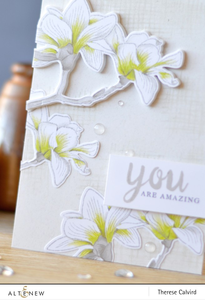 Altenew - Build-A-Flower Magnolia - Calligraphy Alpha - Lostinpaper (card video) 1 copy