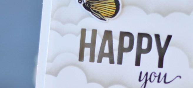 Lostinpaper - MFT Cloud Stencil - Happy Greetings - Altenew - Botanical Garden (card) 1