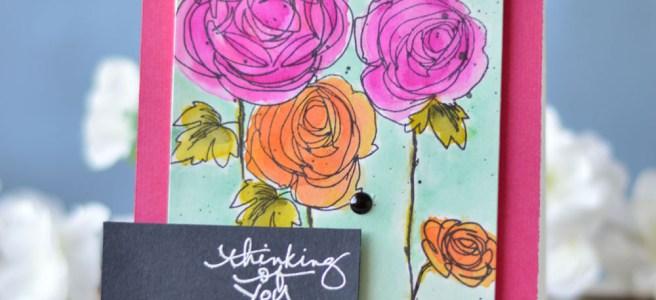 Lostinpaper - Stampendous - Ranunculus - Technique Tuesday (card video) 1