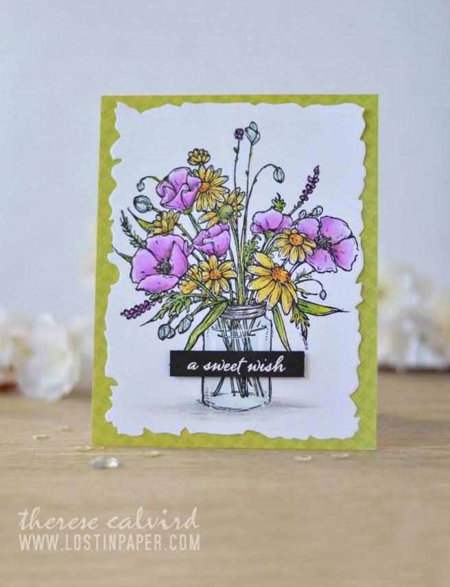 Lostinpaper - Penny Black - Vase Garden - Prismacolor Pencils (card video) 2