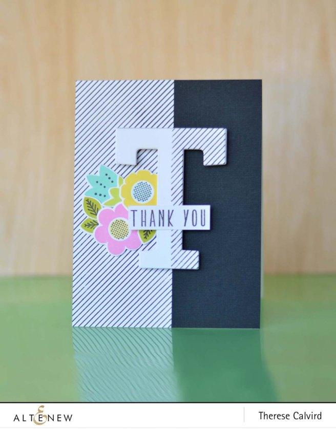 Altenew - Pinstripe - Mega Alphabet - Folksy Florals - Therese Calvird (card video) 1 copy
