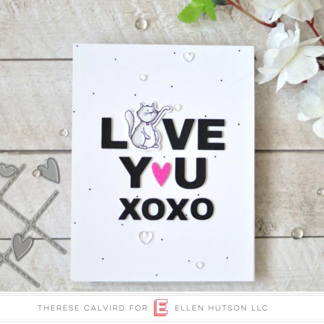 Lostinpaper - Ellen Hutson - Tic Tac Toe - Confetti Kisses - Cat Lady (card) 1 copy