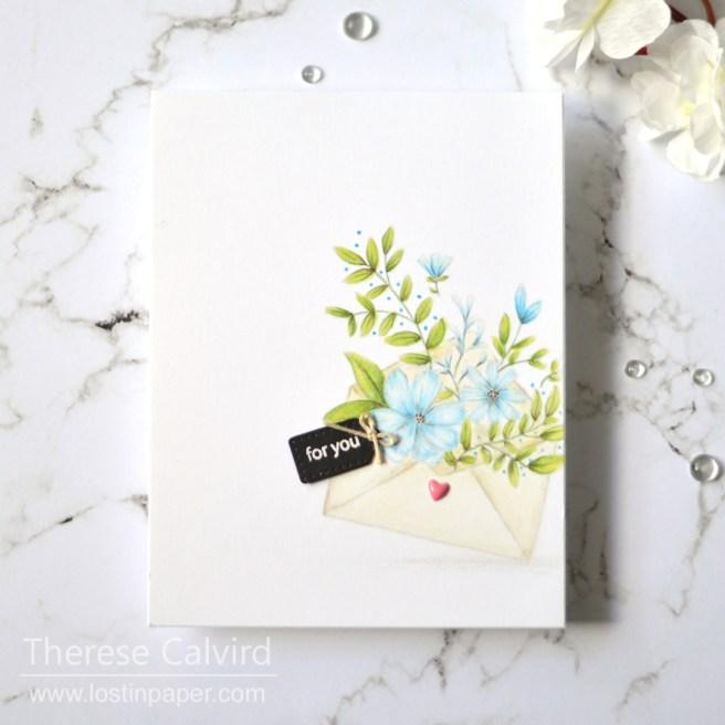 Lostinpaper - Gimme 5 Penny Black - Prismacolor Flowers (card video) 2