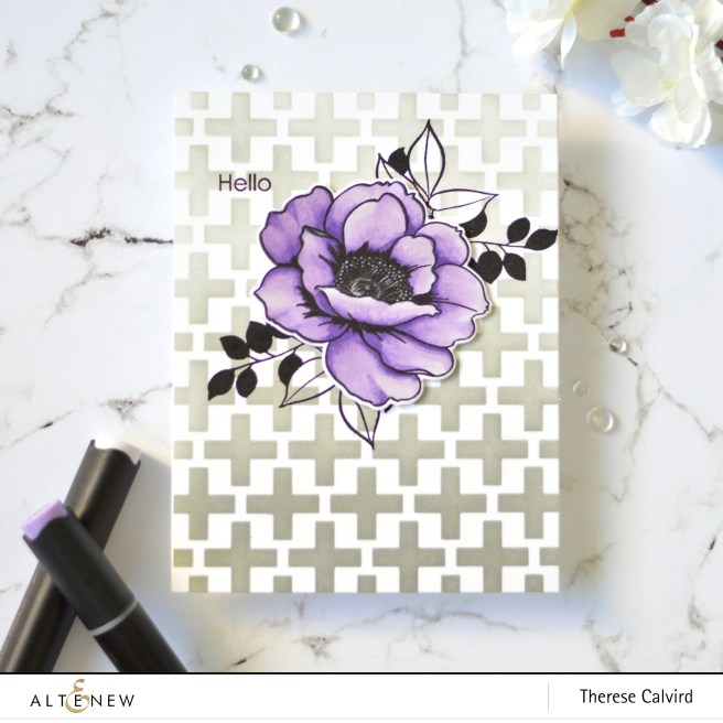 Altenew - On The Plus Side Stencil - Wallpaper Art - Therese Calvird (card) 1 copy