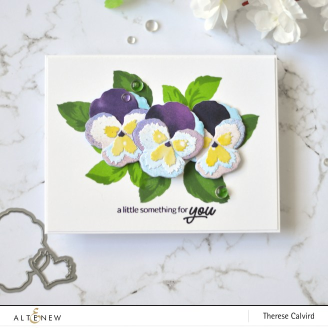 Altenew - Pleasant Pansy 3D Die - Wavy Roses - Antique Roses - Therese Calvird (card video) 1 copy