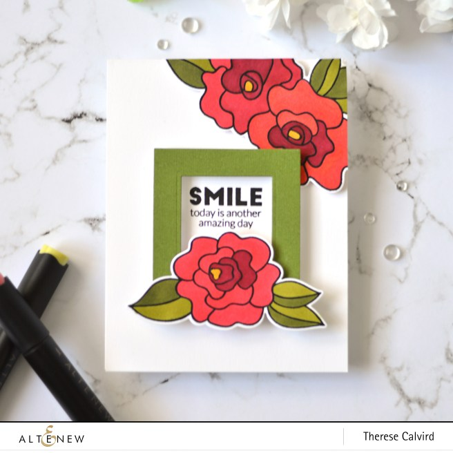 Altenew - Wavy Roses - Simply the Best - Halftone Squares - Therese Calvird (card) 1 copy