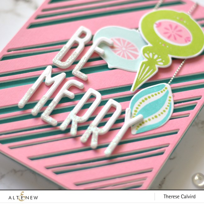Altenew - Candy Cane Stripe - Tall Alpha - Brilliant Baubles - Therese Calvird (card video) 1 copy