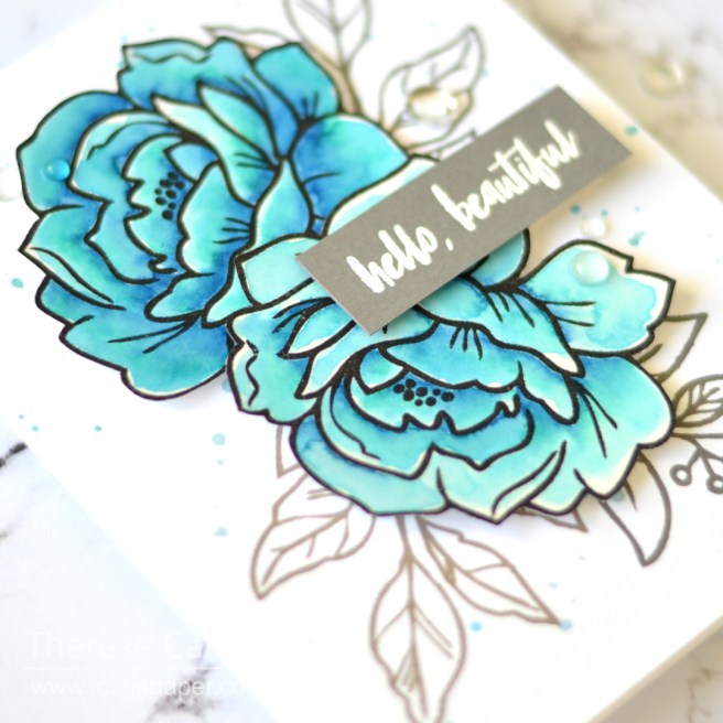 Lostinpaper - Reverse Confetti - Peony - Sentimentally Yours (card) 1