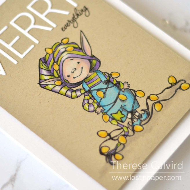 Same But Different Christmas Cards - Penny Black Elves in Copic and Pencils 1