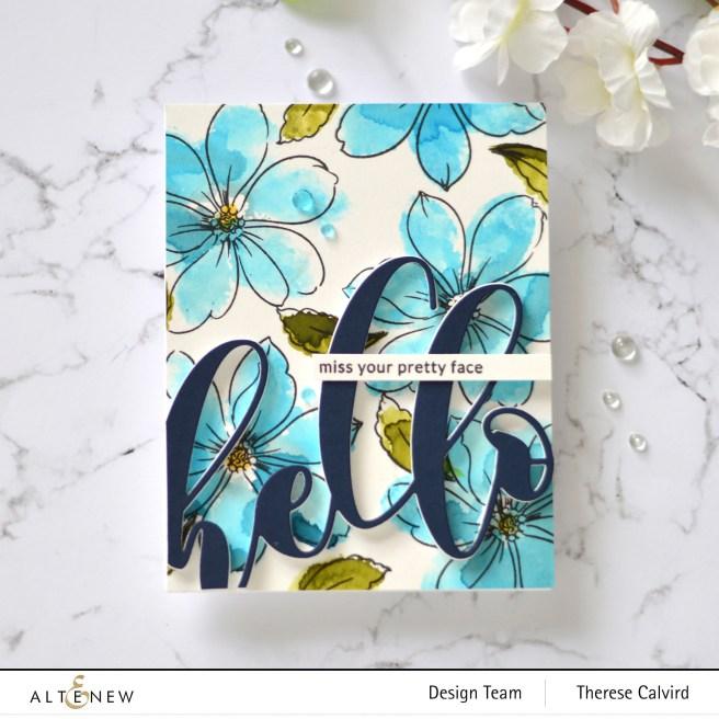 Altenew - Fabulous Florets - Mega Hello - Therese Calvird (card video) 2 copy