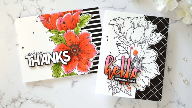 Altenew - Statement Flowers - Bold Thanks Die - Hello and Hugs - Take 2 With Therese (card video) 2 copy