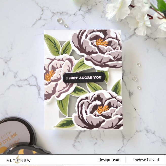 Therese Calvird - Altenew - Build-A-Flower - Peony - Sentiment Strips 2 - Featured Sentiments Die (card video) 1 copy