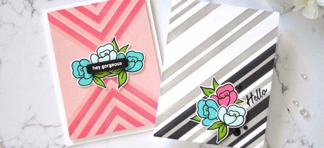 Altenew - Mighty Corners Stencil - Stripe Builder Stencil - Mini Delight - Petite Posy (card video) 1