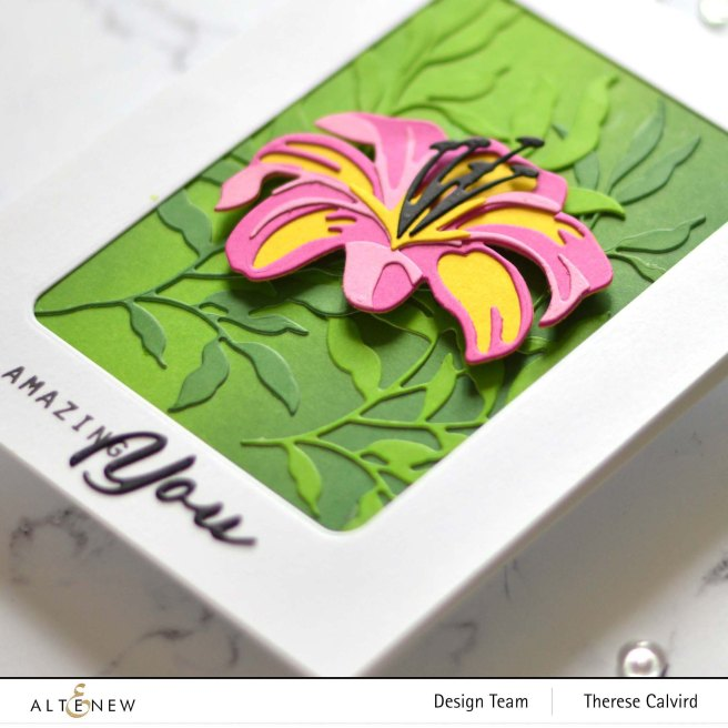 Altenew - Craft A Flower Lily - Simple Greetings - Just Leaves - Tranquility Rose - Rounded Rectangles 1 copy