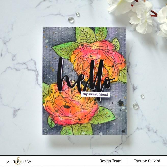 Altenew - Fresh Cut Roses - Organic Linen 3D EF - Waterbrush Hello Die - Hello and Hugs 1 copy