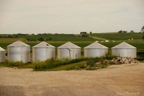 Grain bins line a side street off of downtown in Woodbine, Iowa Friday, June 16, 2017. (photo by Jerry L Mennenga©)