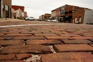 The downtown streets are brick as are the sidewalks in Woodbine, Iowa Friday, June 16, 2017. (photo by Jerry L Mennenga©)