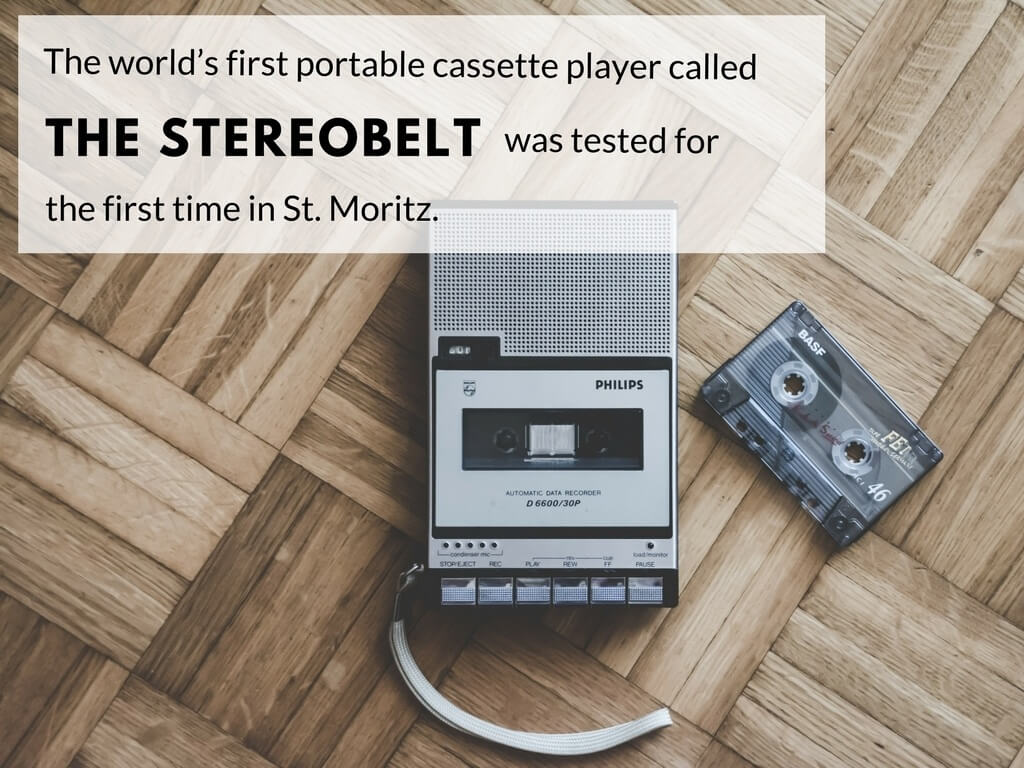 The world's first portable cassette player called the stereobelt was tested for the first time in St. Moritz.