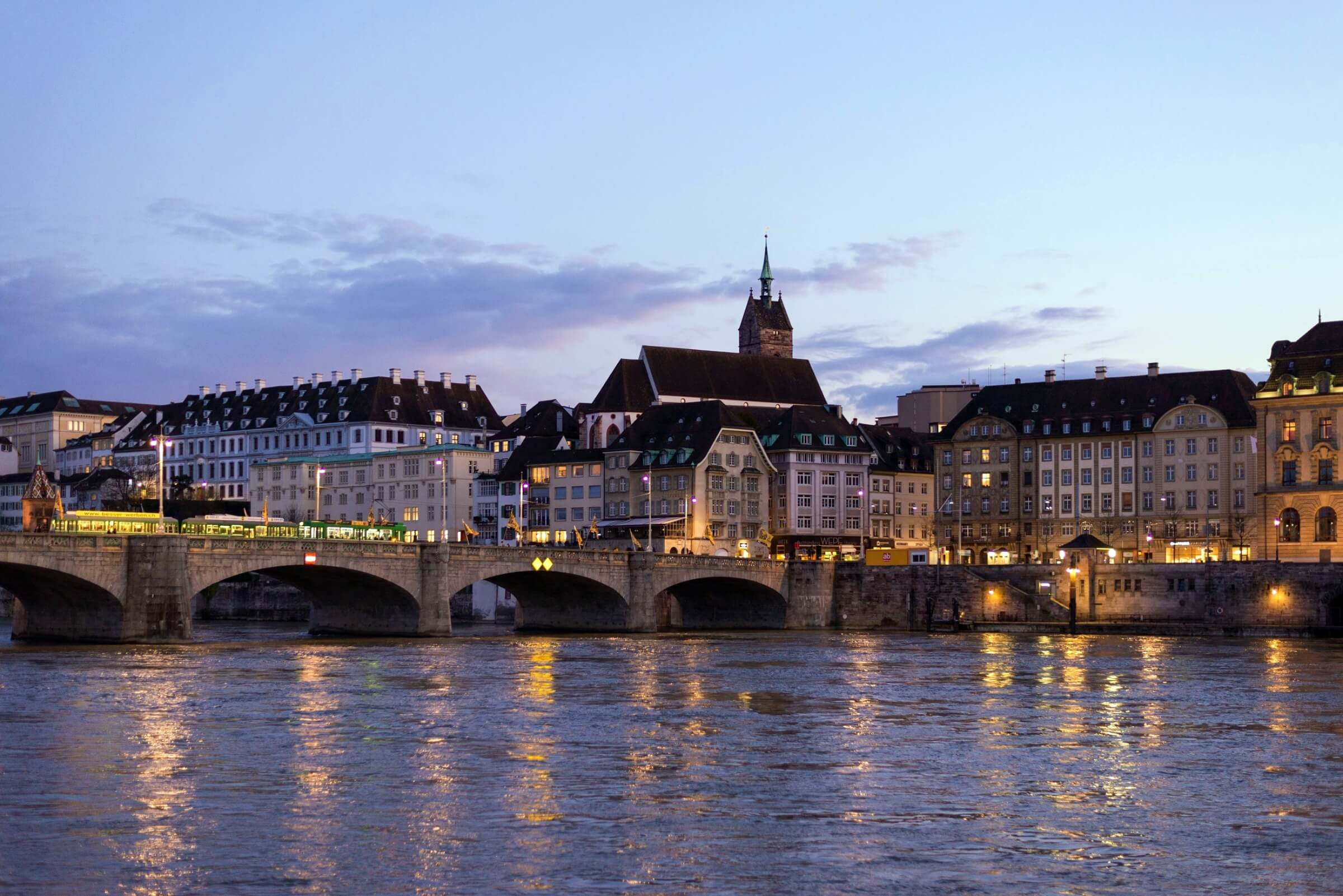 the city of Basel by the river Rhine
