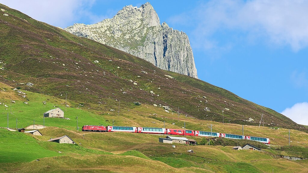 The Oberalp Pass is the highest point on the Glacier Express journey