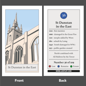 Lost London Churches Project - a single chosen card