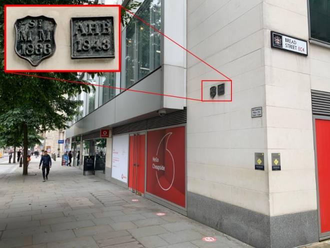 Parish boundary markers St Mary Magdalene Milk Street and All Hallows Bread Street