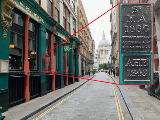 Parish boundary markers for St Mary Aldermary and All Hallows Bread Street