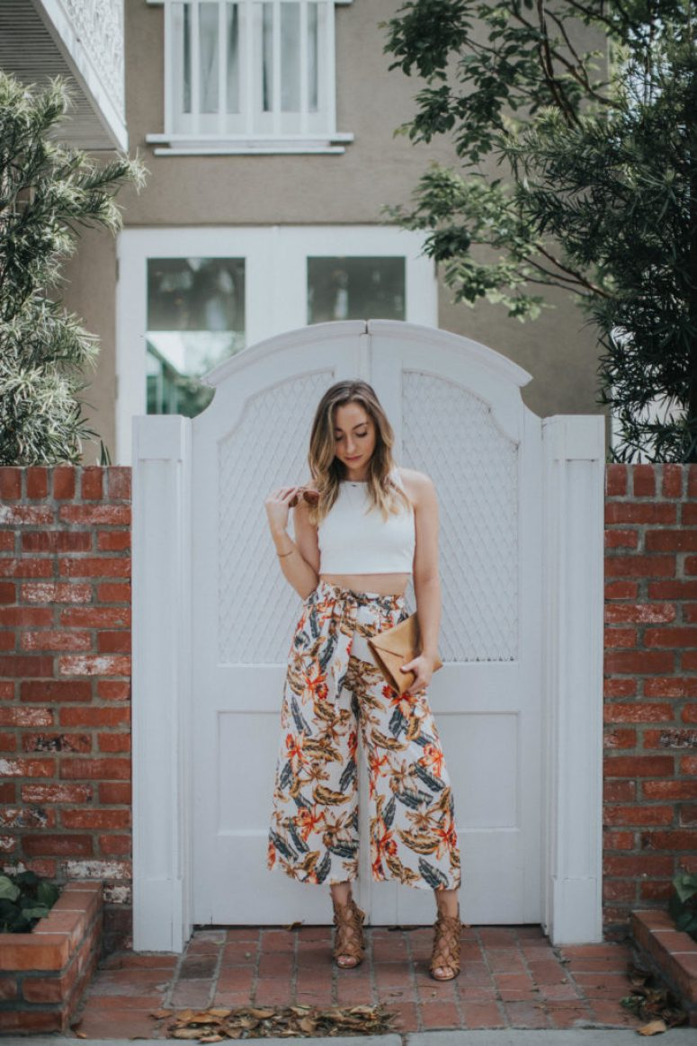 Tropical print culottes pants with white crop top