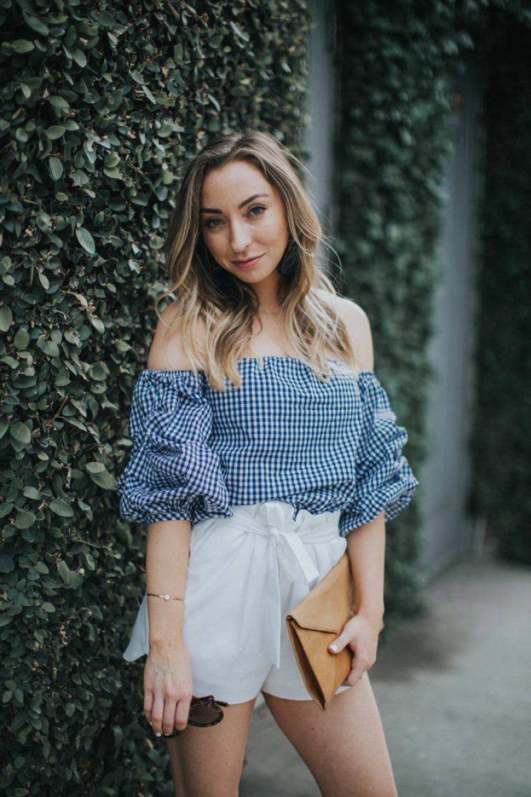 Gingham off the shoulder top with white shorts