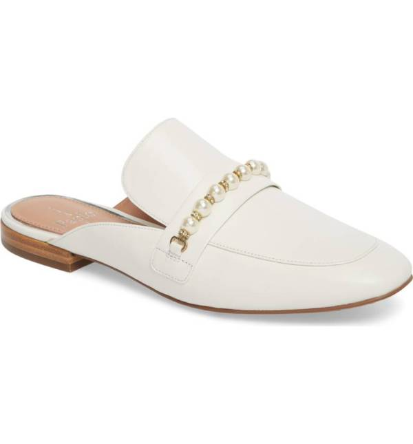 White leather mule with pearl strap detail