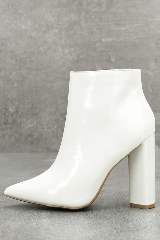 White chunky heel patent leather bootie