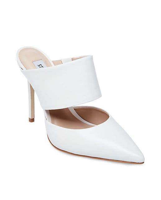 White leather mule pump