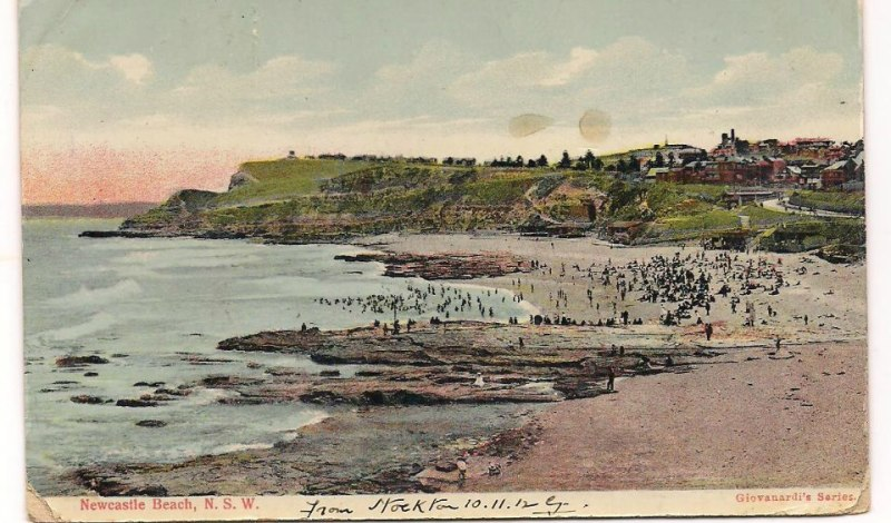 Newcastle Beach - postcard photo uploaded by Lost Newcastle member Brian Peters.