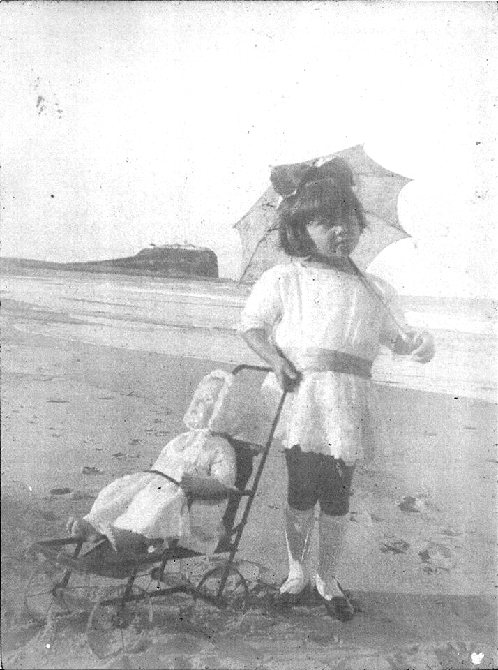 Photo of girl taken by Lost Newcastle member, Kris Eyre's grandmother. c1920 Nobbys Beach