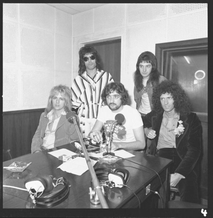 Queen at the studios of Radio 6PM, Perth, 12 April 1976