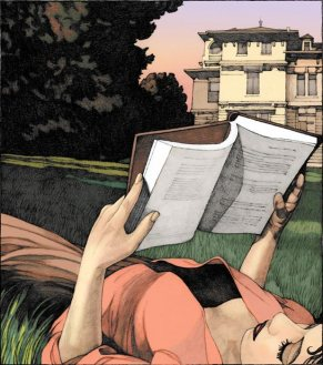 girl-reading-in-lawn by Miles Hyman