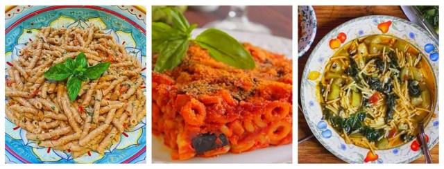 Alcune specialità degne di un tour gastronomico in Sicilia: busiate cu l'agghia o pesto alal trapanese, anelletti al forno palermo, pasta chi tenurrumi - foglia di un tipo di zucchina